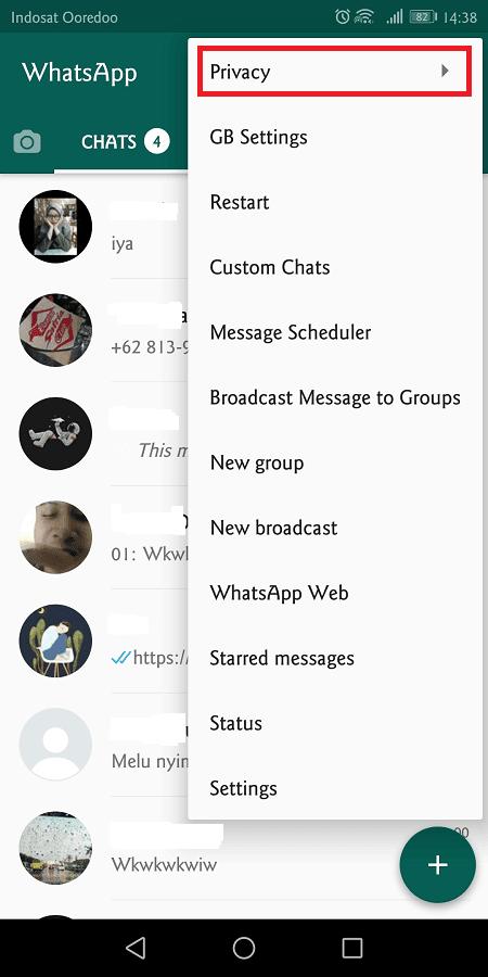 gbwhatsapp memiliki pengaturan yang lebih kompleks daripada whatsapp original