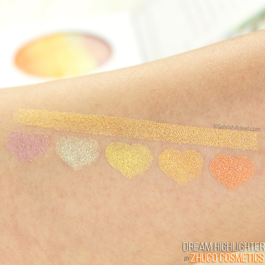 Rainbow Highlighter Alert - Dream Highlighter by Zhuco Cosmetics - Review & Swatches