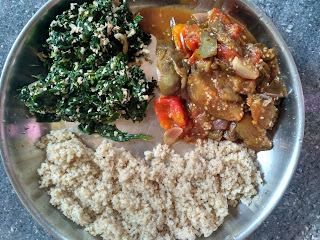 Barnyard millet rice, Brinjal curry, Ponnaanganni greens poriyal
