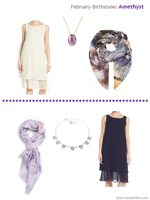how to wear amethysts with an ivory dress or a navy dress