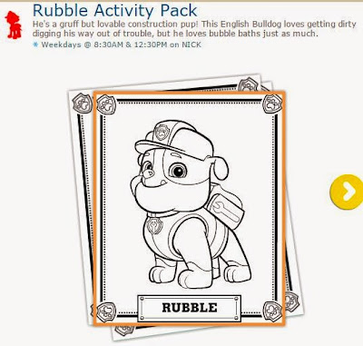 Paw Patrol: Rubble Free Printable Activity Pack.