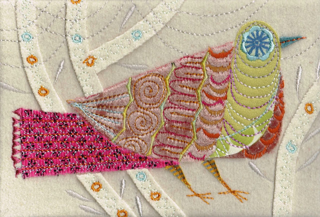 Pink Cuckoo Machine Embroidery using velvets and silks, applique, wool base