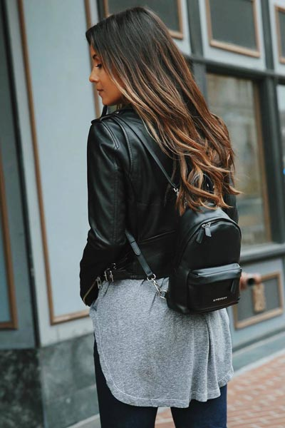 17 Fresh Fall Fashion Outfits To Update Your Closet In 2018 | Leather Jacket+ Women's Backpack