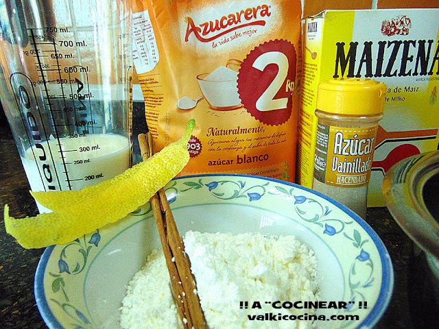 Ingredientes crema pastelera sin huevo