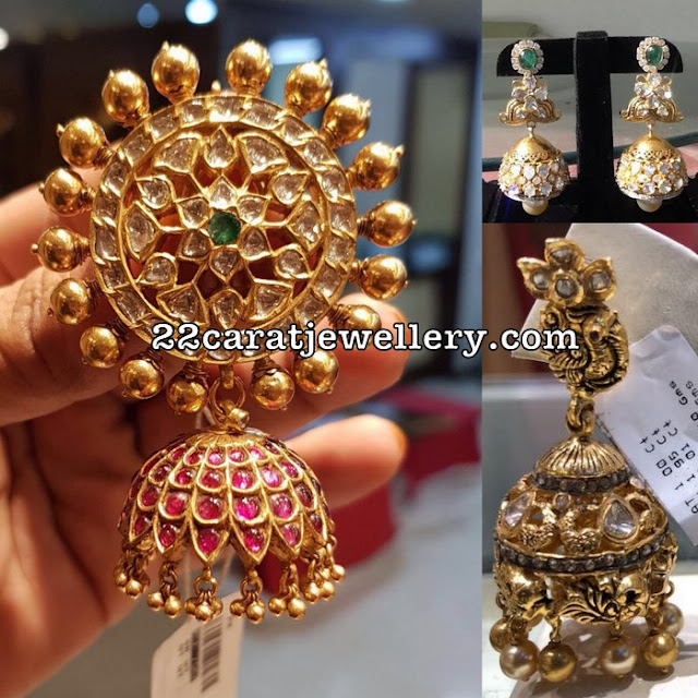 Polki and Nakshi Work Large Jhumkas