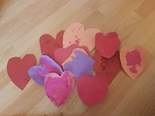 small painted paper hearts valentines