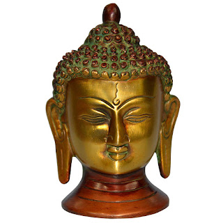 DronaCraft Buddhist Buddha Head Brass Statue