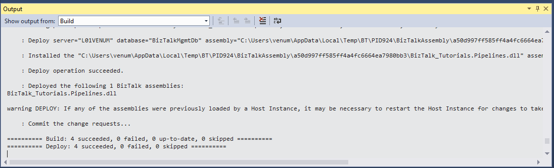 Once The Deployment Is Successful It Will Show The Success Message In  Output Window As Shown Below.