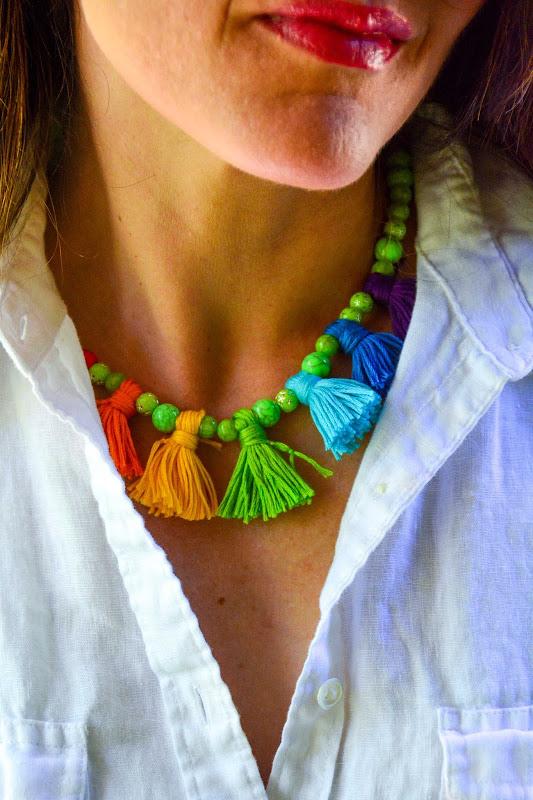 Aesthetic Nest Craft Rainbow Boho Tassel Necklace Diy