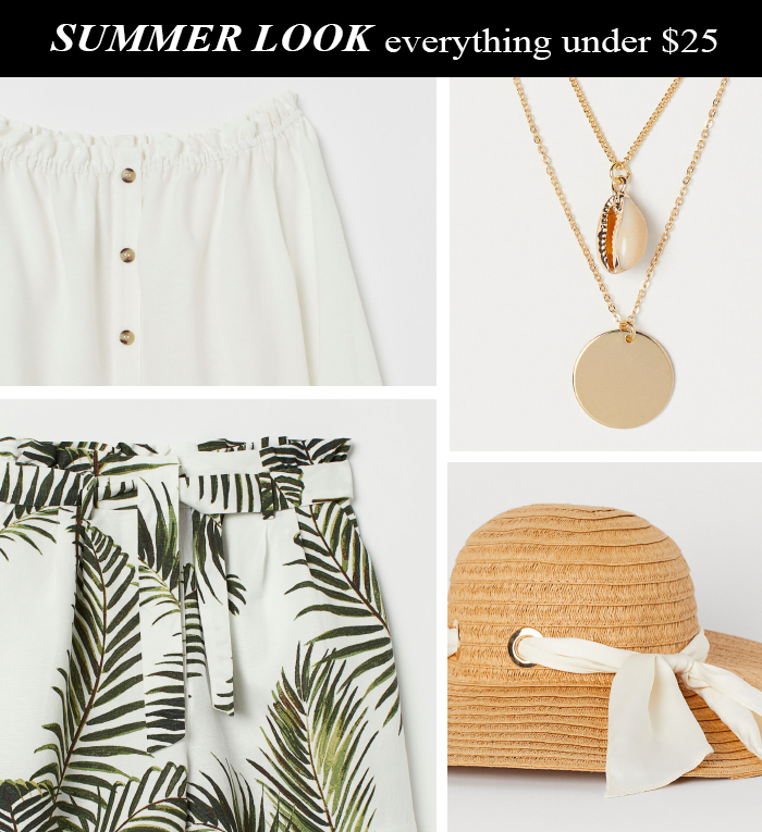 palm print shorts, seashell necklace, straw hat, off shoulder blouse
