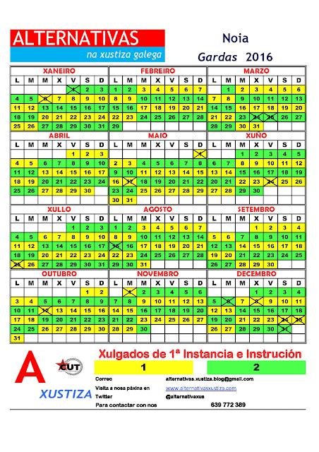 Noia. Calendario gardas 2016