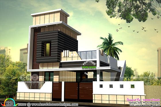 1040 square feet South Indian home plan