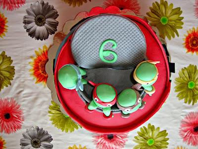 Vista cenital tarta tortugas ninja