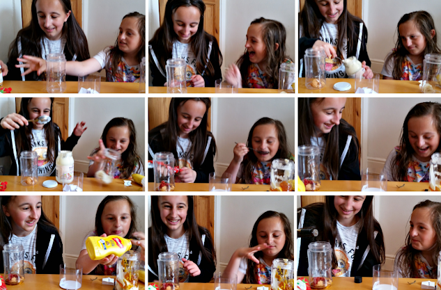A collage of photos of my girls tasting disgusting smoothies