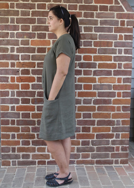 Side view of  a short-sleeved linen dress made from the Lisette Portfolio/Simplicity 2245 sewing pattern.