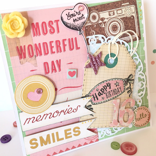 Sweet sixteen scrapbooking card