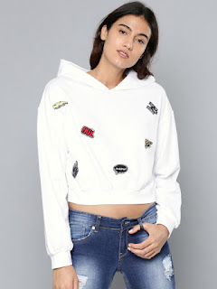 NUSH Women White Self Design Hooded Sweatshirt