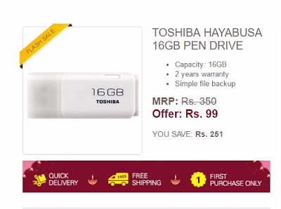 Get your 16gb Toshiba Pendrive at Just Rs.99 only exclusively on eBay flash sale.