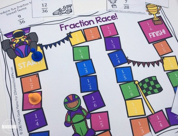 Fraction Race Board Game