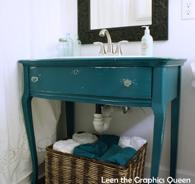 diy bathroom vanity painted with gypsy teal