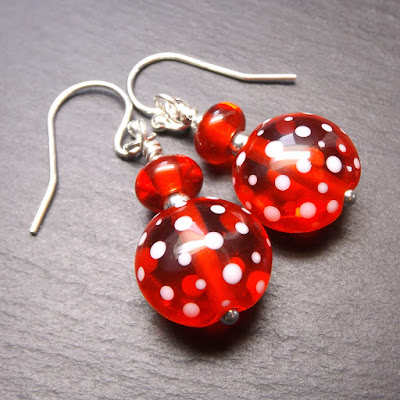 Lampwork glass bead and sterling silverearrings by Laura Sparling