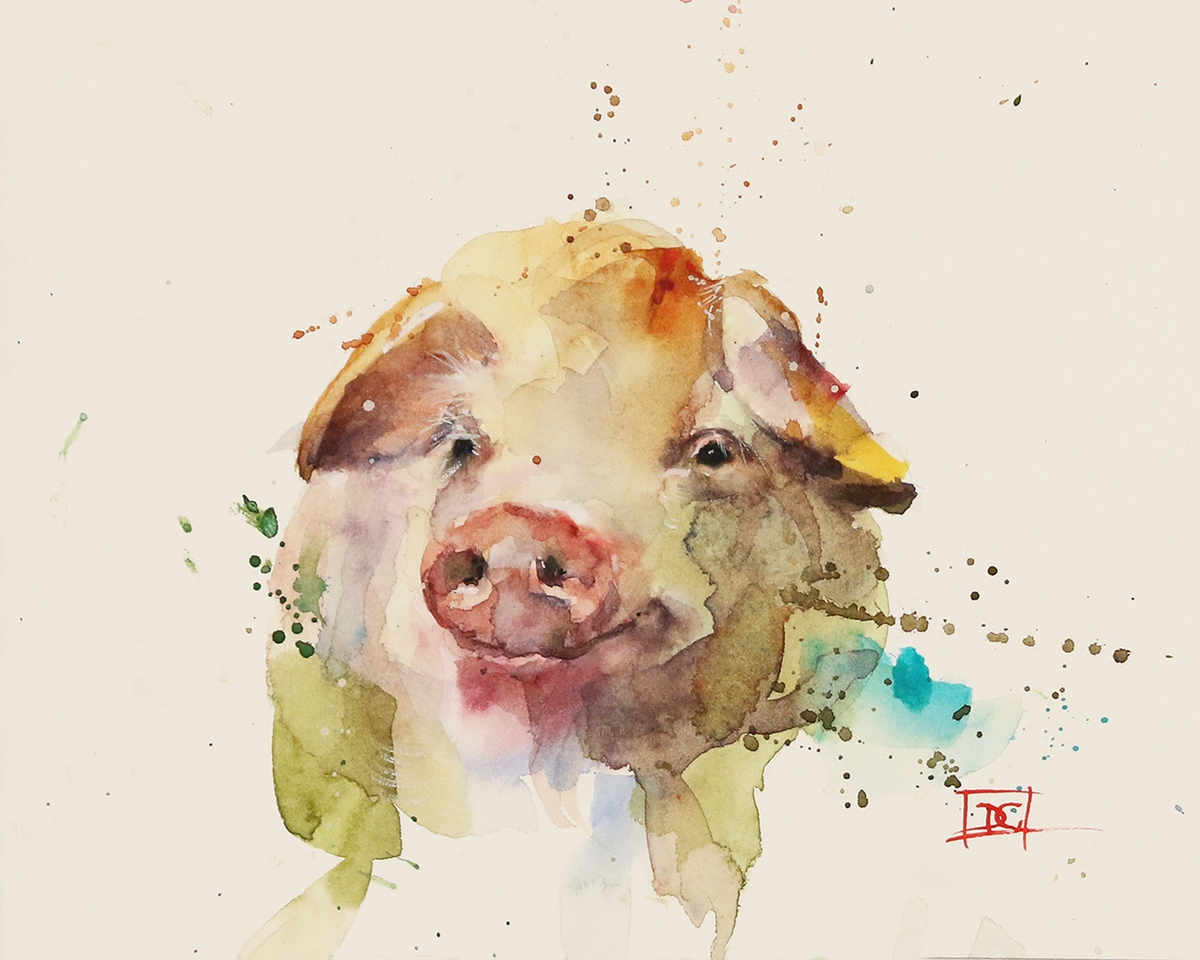 09-Oink-Pig-Dean-Crouser-A-Love-of-the-Outdoors-Spawns-Animal-Watercolor-Paintings-www-designstack-co