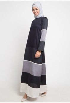 Zalora Gamis Dress Wanita Muslimah Monokrom Baju Muslim Gamis