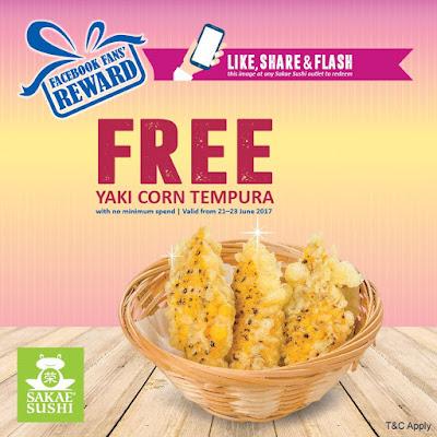 Sakae Sushi Malaysia Free Yaki Corn Tempura FB Promo