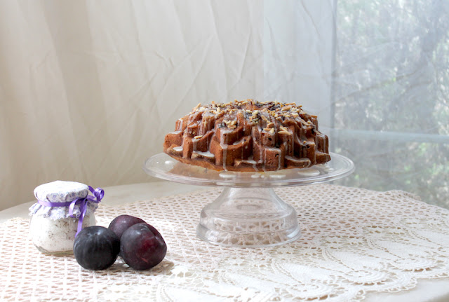 Food Lust People Love: This Almond Plum Lavender Bundt is a rich, buttery pound cake, made with ground almonds and fresh plums, with the subtle floral note of summer lavender.