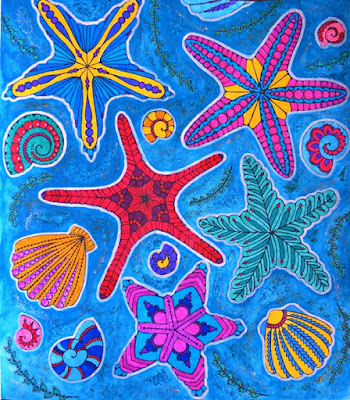 Adult coloring: sea theme colored with markers, glitter and watercolor