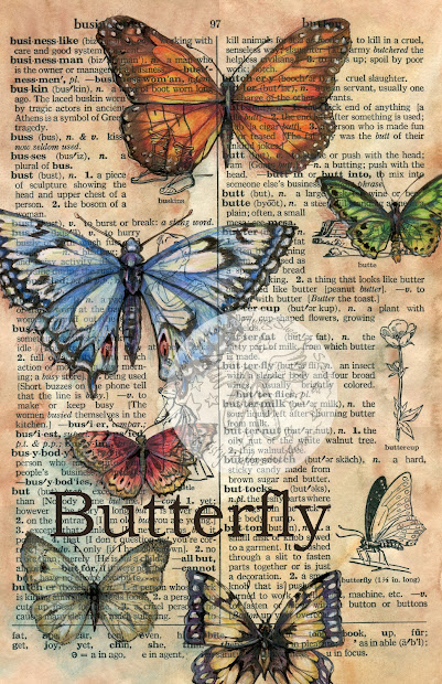 Flying Shoes Art Studio Butterfly - Large Dictionary Drawing