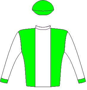 Star Express - Silks - Owner: Mrs P A Isdell, Mr G Ragunan, Dr Dave & Mrs Sue Whitelaw - Colours: Emerald green, white stripe and sleeves, emerald green cuffs and cap