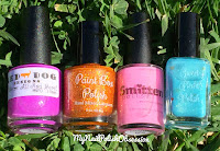 Red Dog Designs We're All Mad Here, Paint Box Polish Much More Muchier, Smitten Polish Drink Me, Sweet Heart Polish Explain Yourself