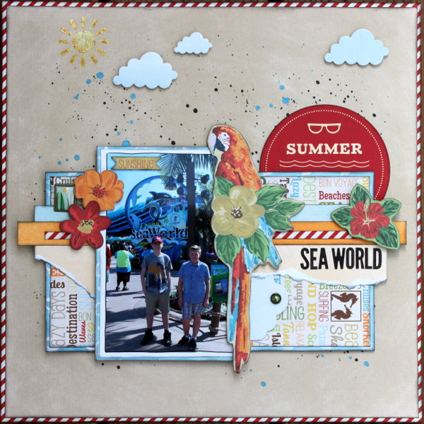 Sea World Scrapbook Page by Ulrika Wandler using BoBunny Beach Therapy Collection