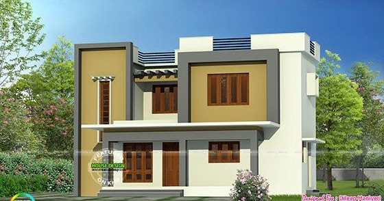Simple flat roof home architecture kerala home design for Flat roof elevation
