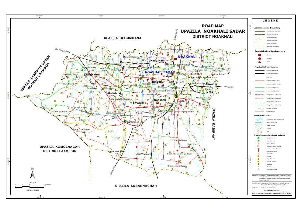Noakhali Sadar Upazila Road Map Noakhali District Bangladesh