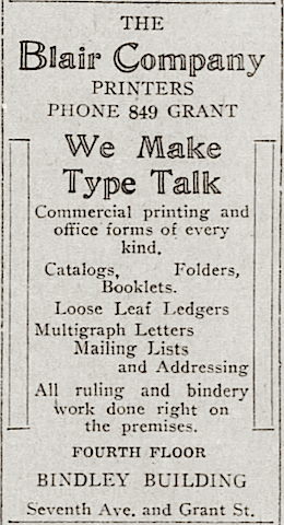 Ad for The Blair Company, Pittsburgh printers, 1919