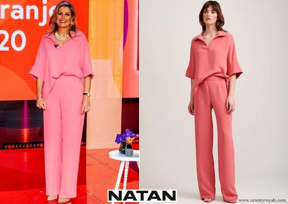 Queen Maxima wore Natan Mia Shirt and Motus wide leg