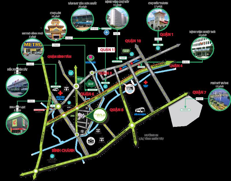 Bản đồ vị trí Căn hộ The Avila 2 Quận 8