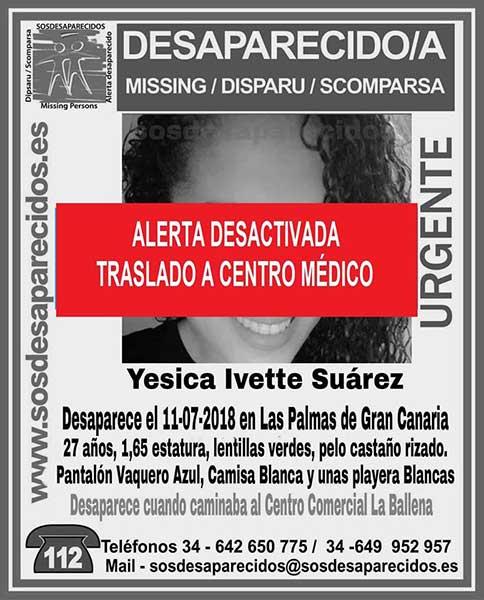 Ha sido localizada y trasladada a centro médico, Yesica Ivette Suárez, que se encontraba como desaparecida en Las Palmas de Gran Canaria