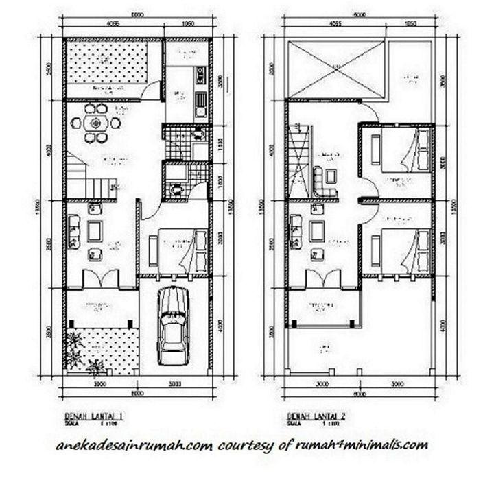 denah rumah lantai 2 minimalis terlihat modern