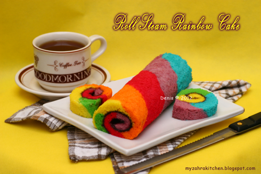 Bolu Gulung Kukus Rainbow Steamed Rainbow Roll Cake: Zahra Kitchen: Roll Steam Rainbow Cake