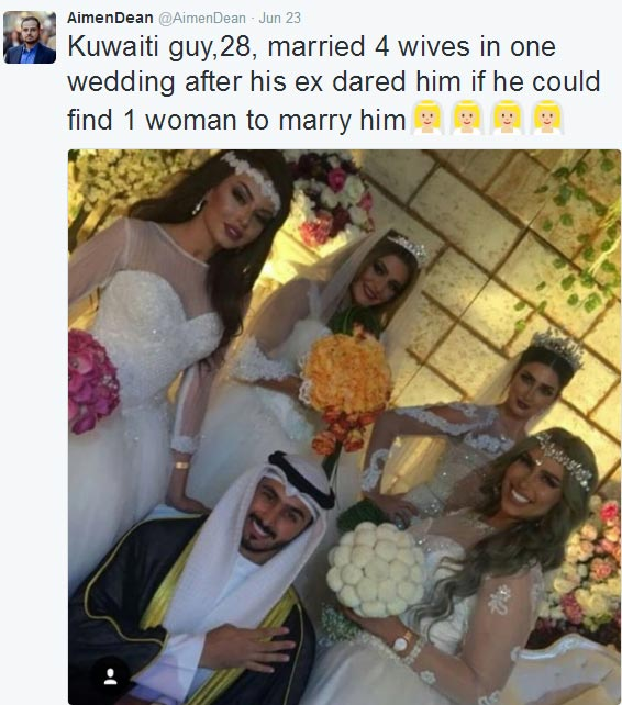 Man marries 4 women at once after ex dared him to find another woman who can love him
