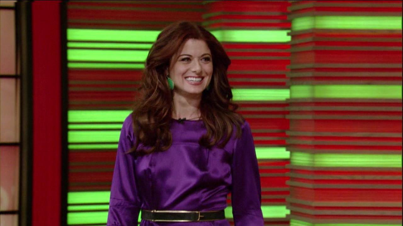 630b03304018f2 Ladies in Satin Blouses: Debra Messing - purple satin dress