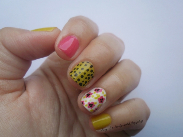 Floral Mix & Match Nail Art [Green, Fuchsia]