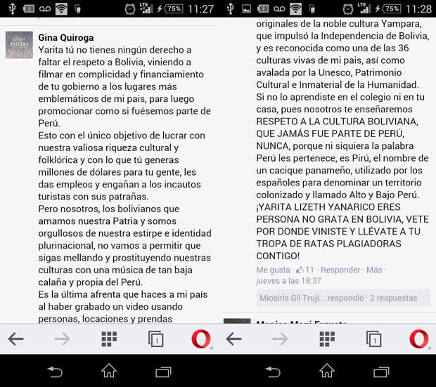 Captura de pantalla de la publicacion de Gina Quiroga en Facebook