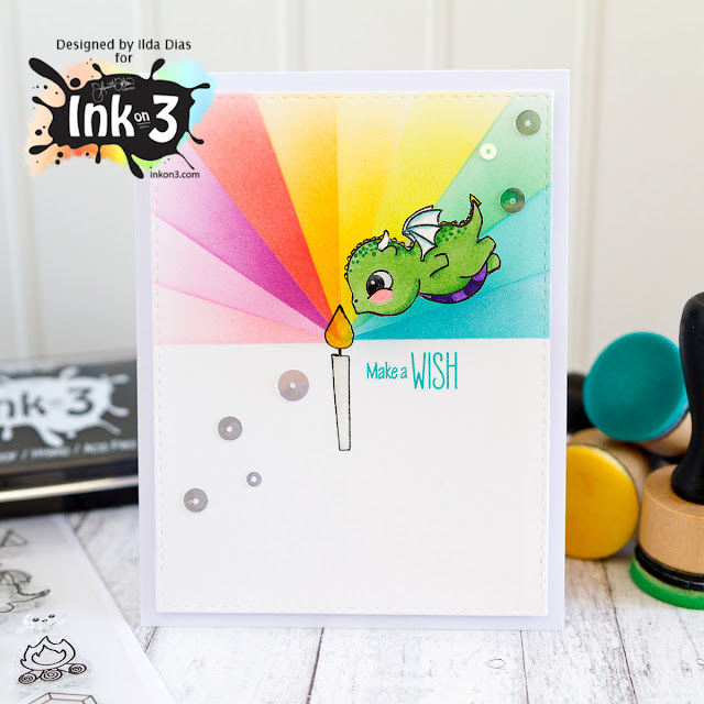 Make a Wish Birthday Action Wobbles Card ft. Magic Dragons from Ink On 3
