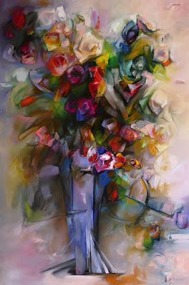Obraz przestawiający kwiaty w stylu impresjonistycznym