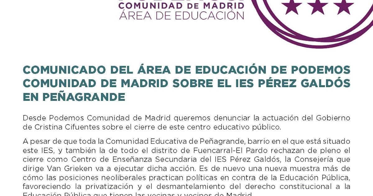MareaVerde: COMUNICADO DEL ÁREA DE EDUCACIÓN DE PODEMOS ... - photo#20