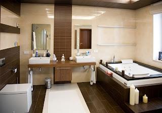 Baños modernos en color marrón